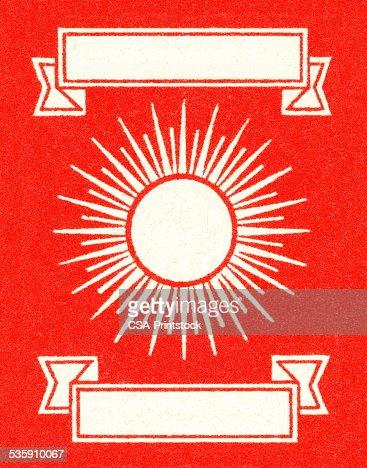 Sunburst e Banners em Fundo vermelho : Ilustração de stock