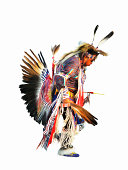 digital painting of a Native American Indian pow-wow dancer in full regalia
