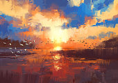 beautiful painting showing sunset on the lake,illustration