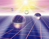 Sunshine and balls floating on grid, Computer Graphics, composition
