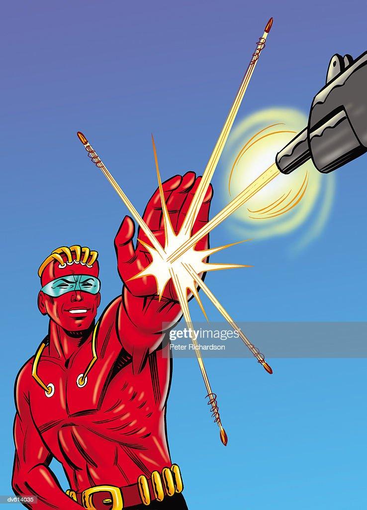 Super Hero Dodging a Bullet : Stock Illustration