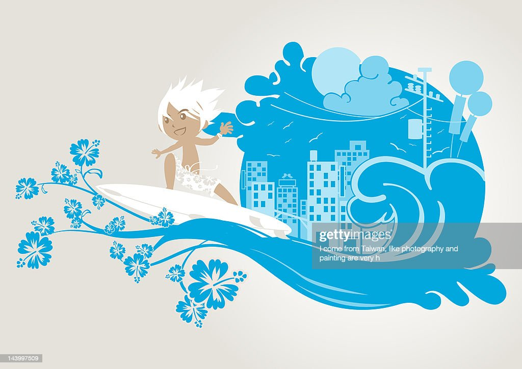 Surfer : Stock Illustration