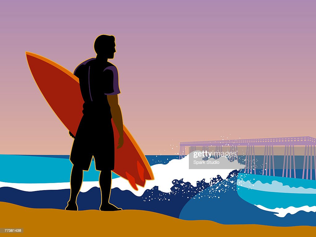 A surfer on the beach looking at the waves : Stock Illustration