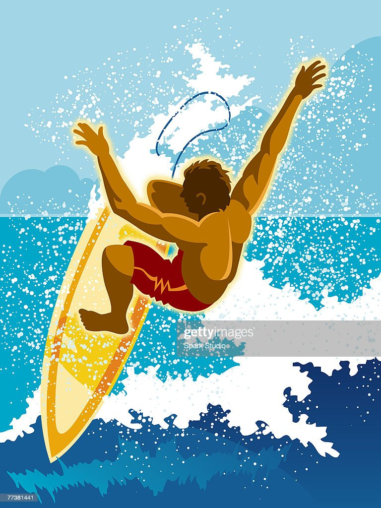 A surfer riding a wave : Stock Illustration