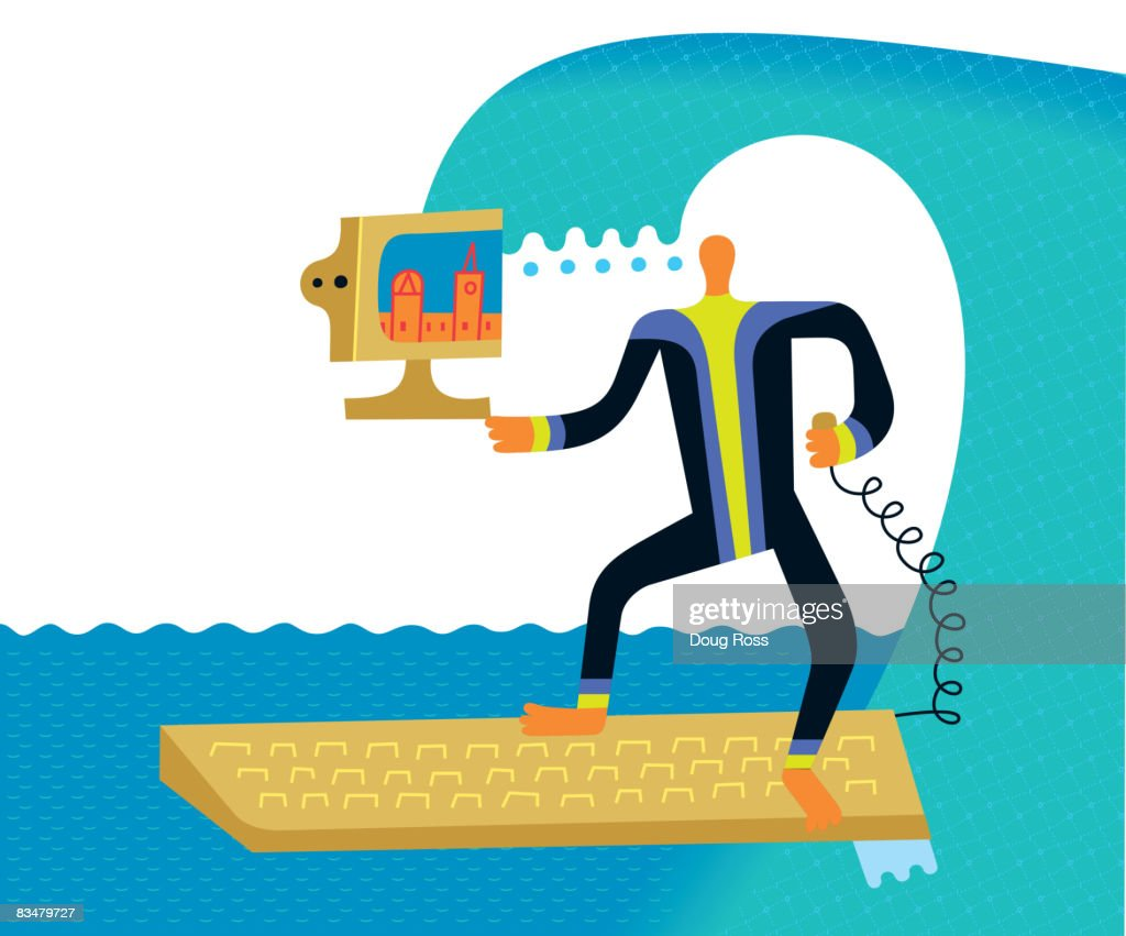 Surfing the net - a man with a computer on a surfboard : Vector Art