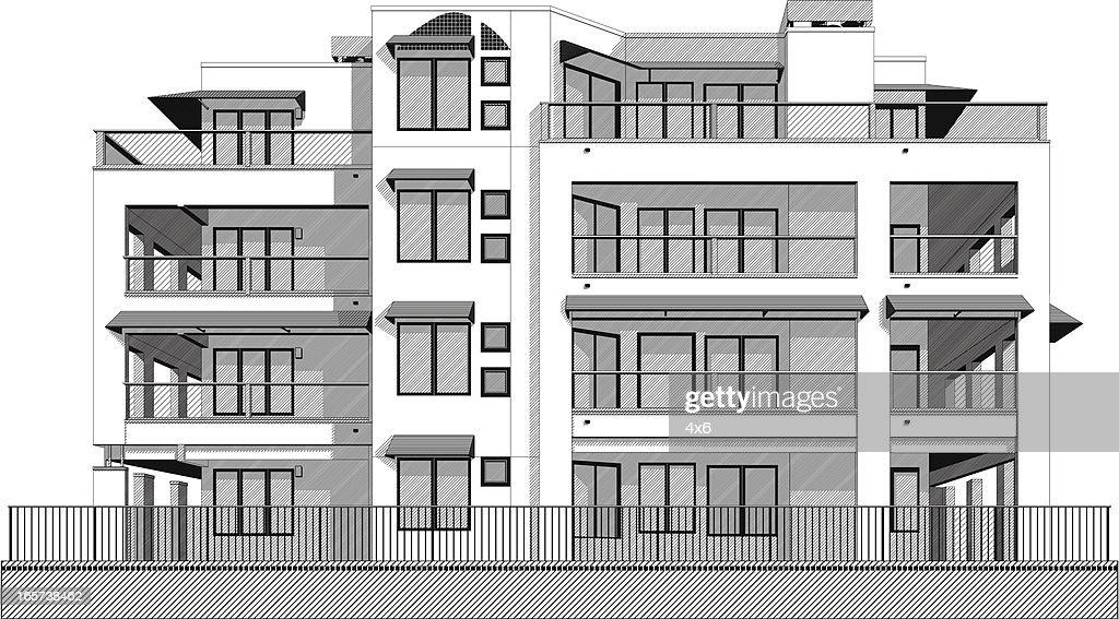 black and white apartment building clip art. Keywords  Apartment Architecture Balcony Beach House Black And White Color Building Exterior Built Structure City Clip Art Swanky Vector Getty Images