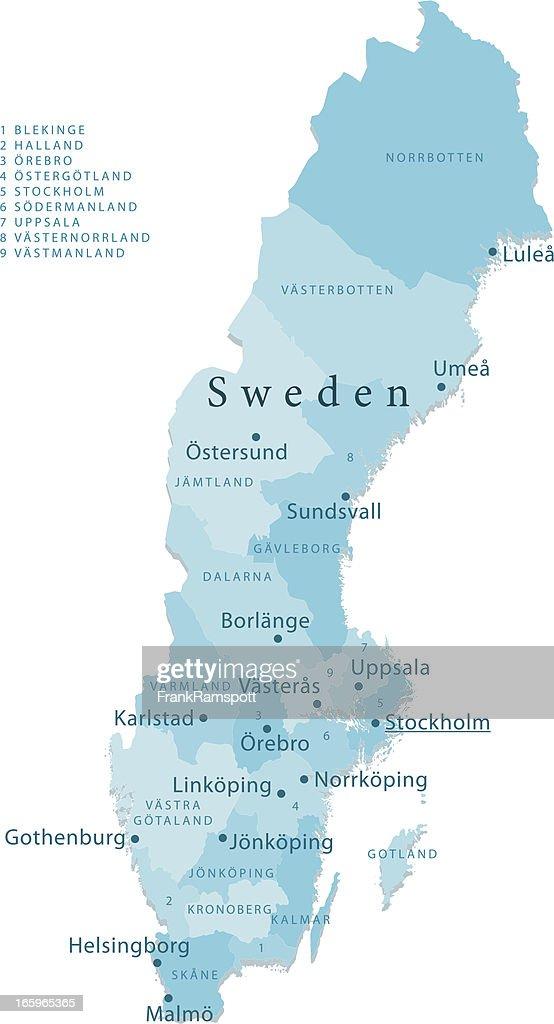 Sweden Vector Map Regions Isolated Vector Art Getty Images - Sweden map regions