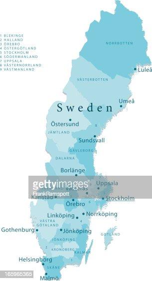 Cartoon Map Of Sweden Vector Art Getty Images - Sweden map ostersund