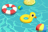 Creative Illustration and Innovative Art: Swimming Pool and Float Child Toys. Realistic Fantastic Cartoon Style Artwork Scene, Wallpaper, Story Background, Card Design