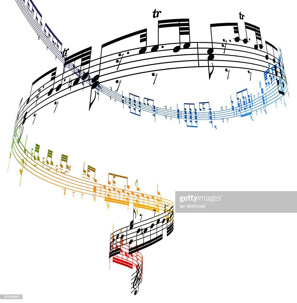 A swirling vortex of music against a white backgro : Stock Illustration