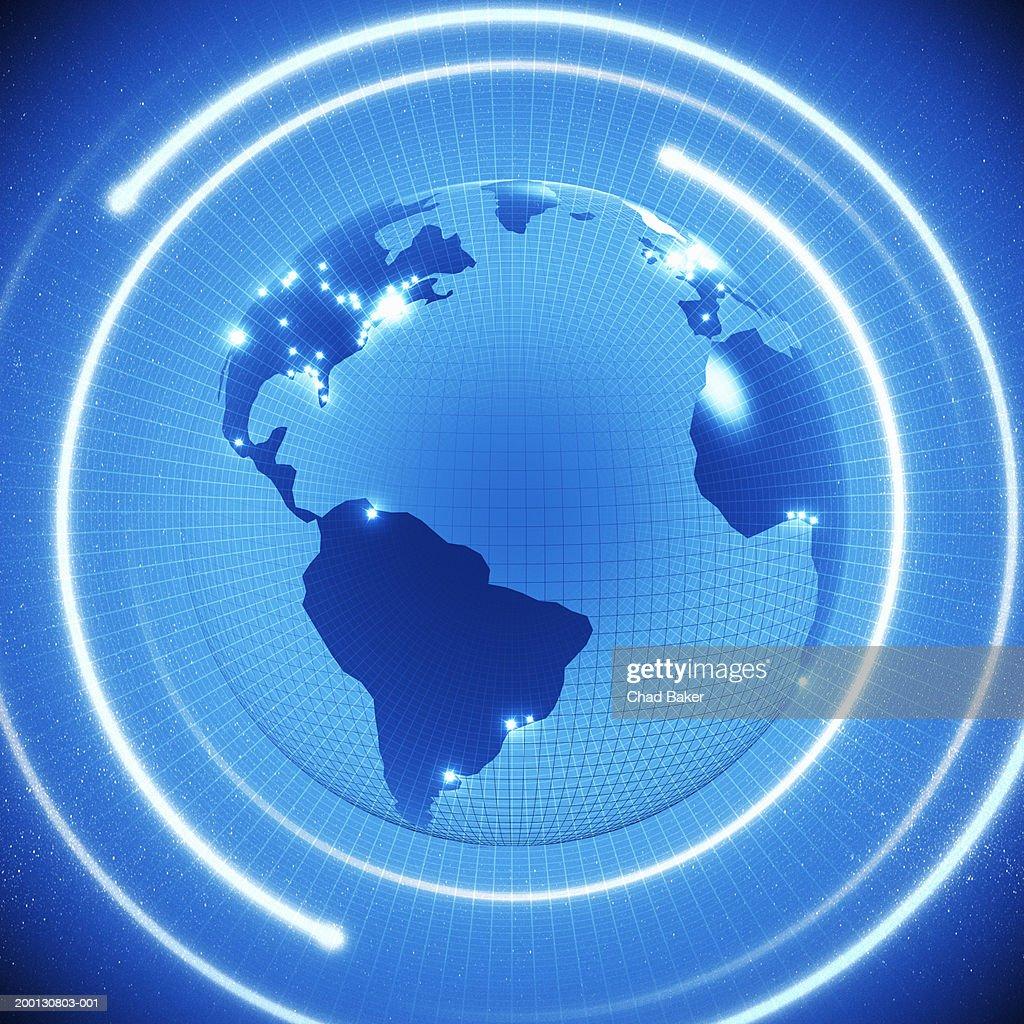 Swirls surrounding blue gridded globe : Stock Illustration