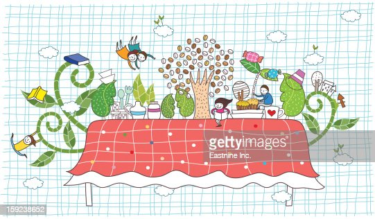 table and children playing : Stock Illustration