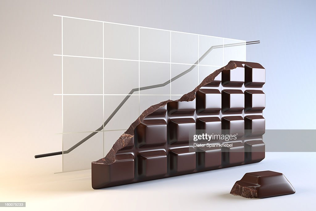 Tablet of chocolate in shape of curve diagram : Stock Illustration