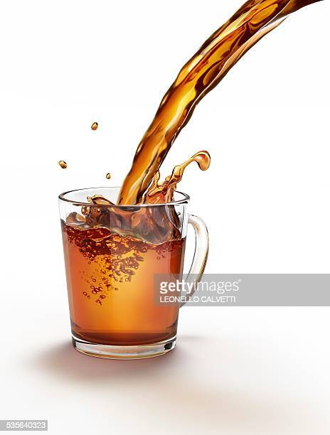 Tea being poured into a glass, artwork