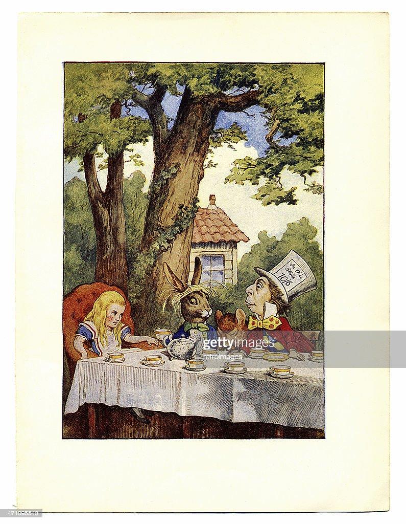 Tea party illustration, (Alice's Adventures in Wonderland) : Stock Illustration