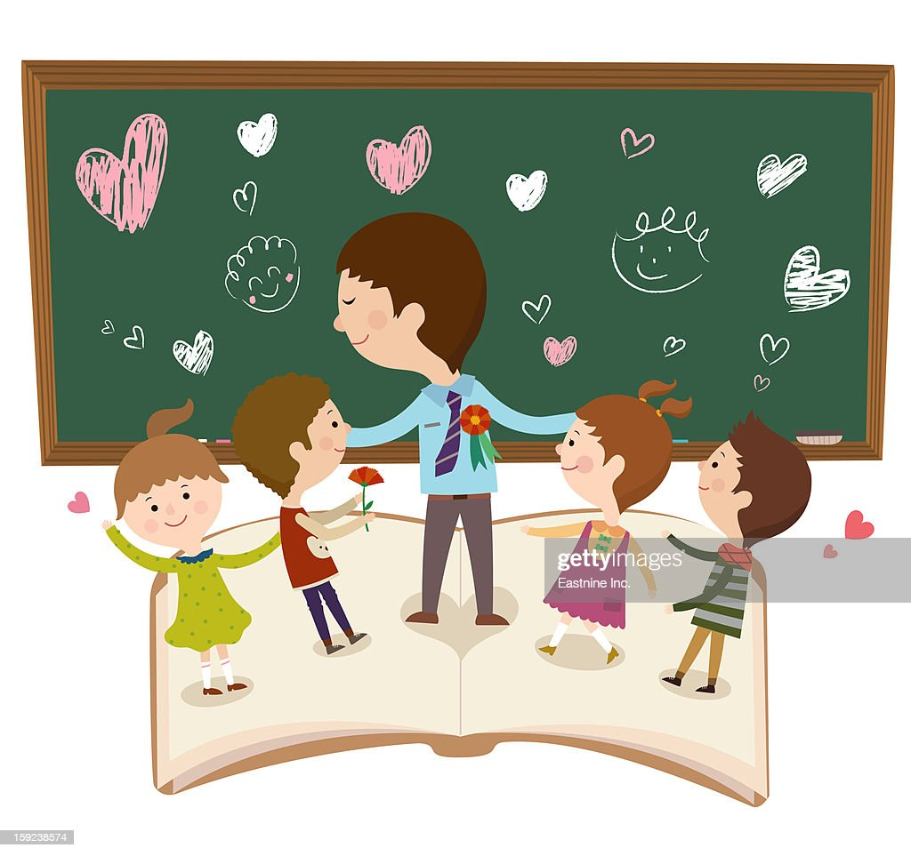 A teacher and a student : Stock Illustration
