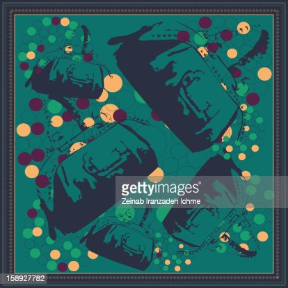 Teal design with border and purses : Stock Illustration