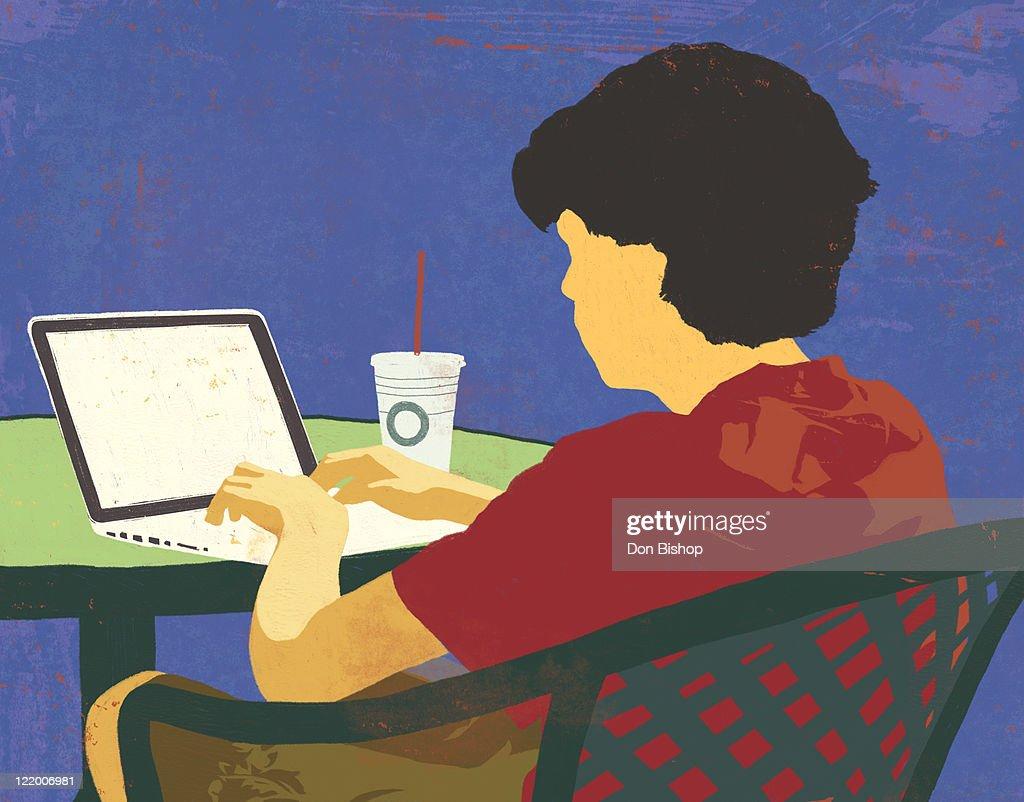 Teen boy using laptop illustration : Stock Illustration