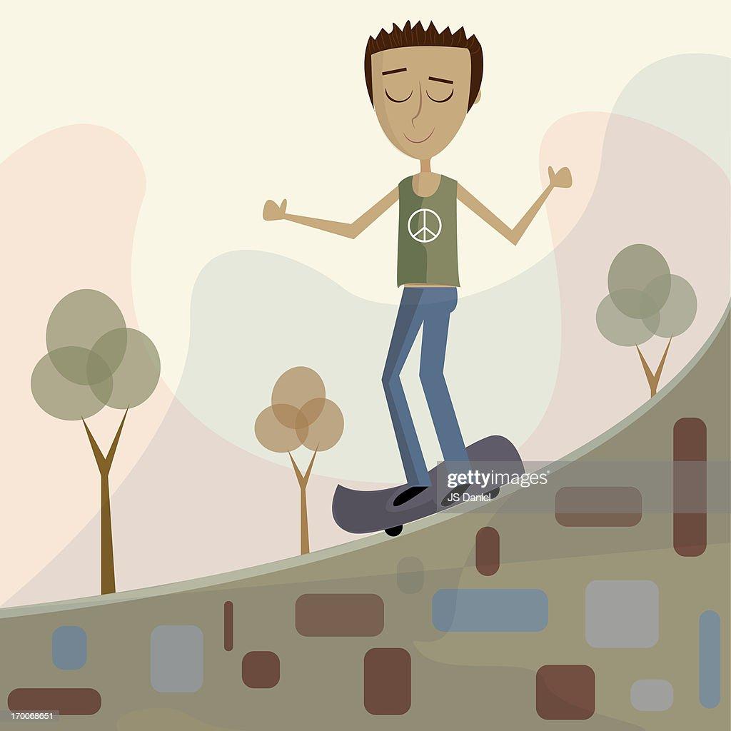 A teenage boy on a skateboard : Stock Illustration