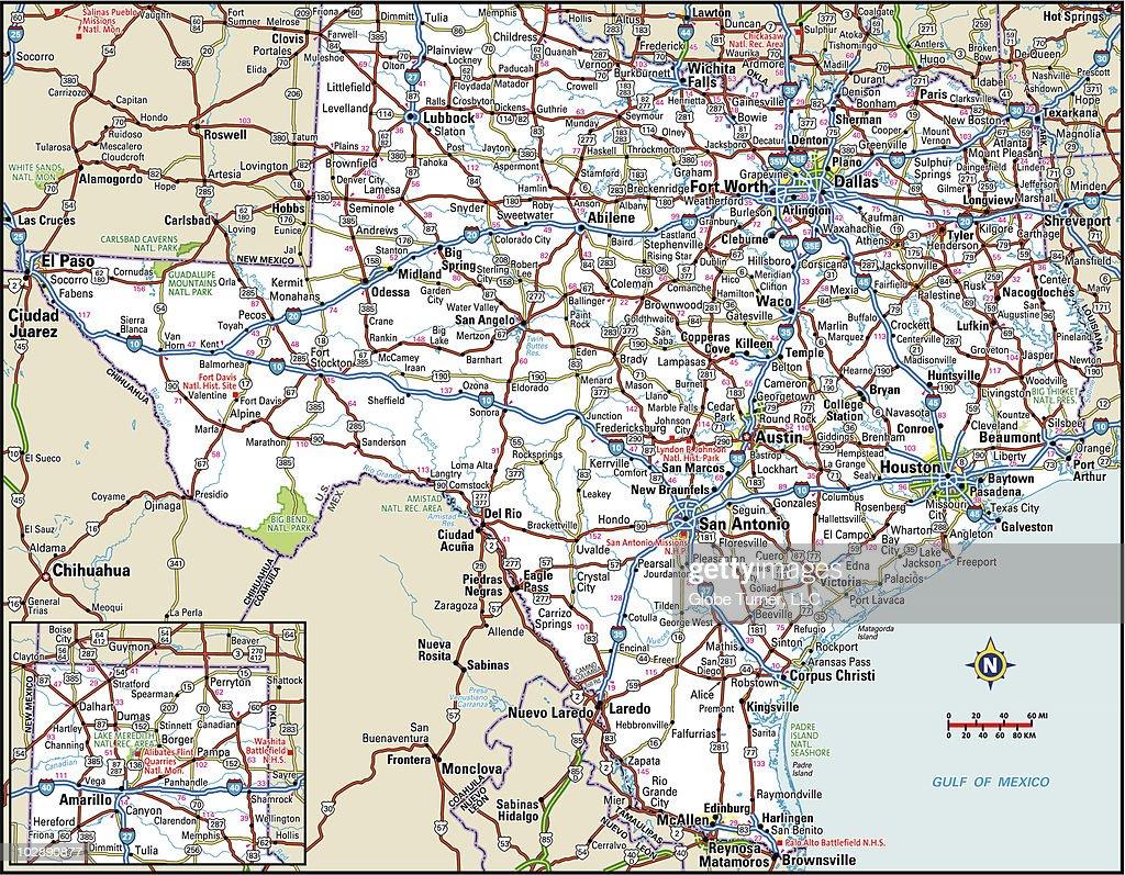 Texas Highway Map Vector Art Getty Images - Texas highway map
