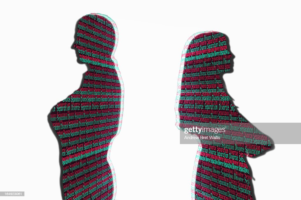 Text outline of man and woman faced apart : Stock Illustration