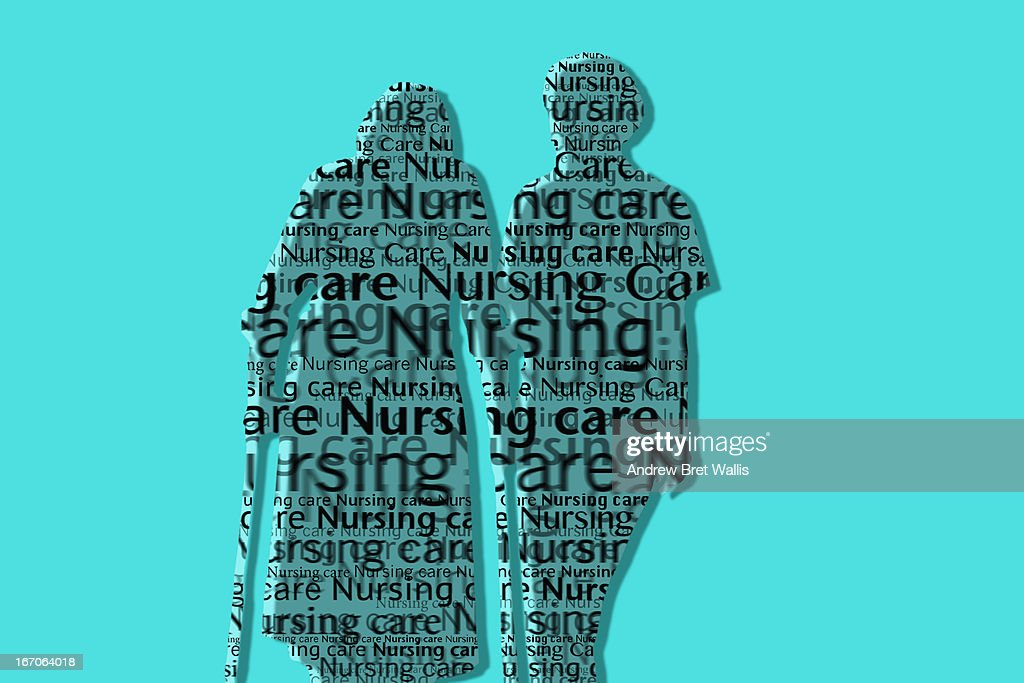 Text outline of nurse supporting injured patient : Stock Illustration