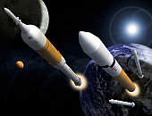 Illustration showing the Ares I Crew Launch Vehicle, left, and the Ares V Cargo Launch Vehicle, right. Ares I will carry the Orion crew exploration vehicle to space. Ares V will serve as the agency's