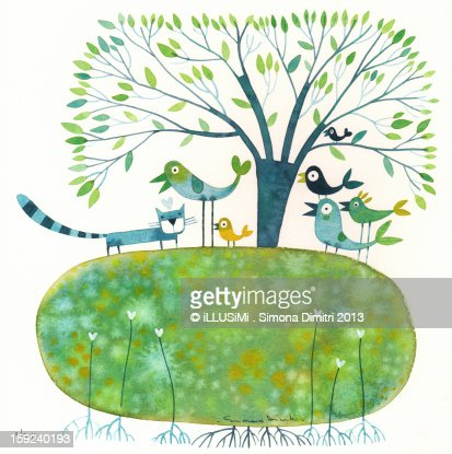 The birds and the cat : Stock Illustration