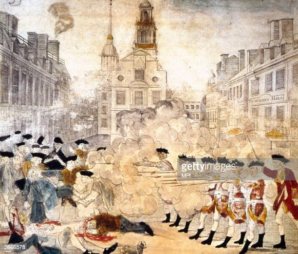 The Boston massacre in which British troops opened fire on a crowd killing five people and inflaming American opinion Original Artwork Picture by...
