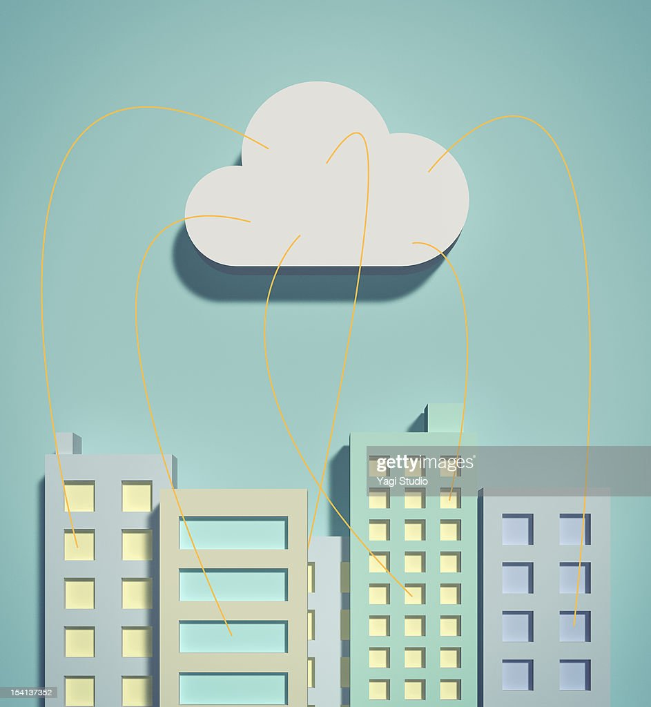 The cloud network and office buildings : Stock Illustration