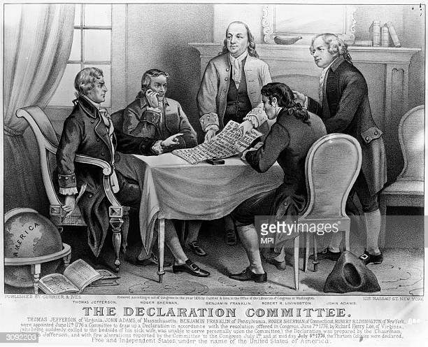 The committee which drafted the Declaration of Independence From left Thomas Jefferson Roger Sherman Benjamin Franklin Robert R Livingston and John...