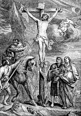 An engraved illustration image of  The Crucifixion of Jesus Christ  from a Victorian Bible dated 1883 that is no longer in copyright