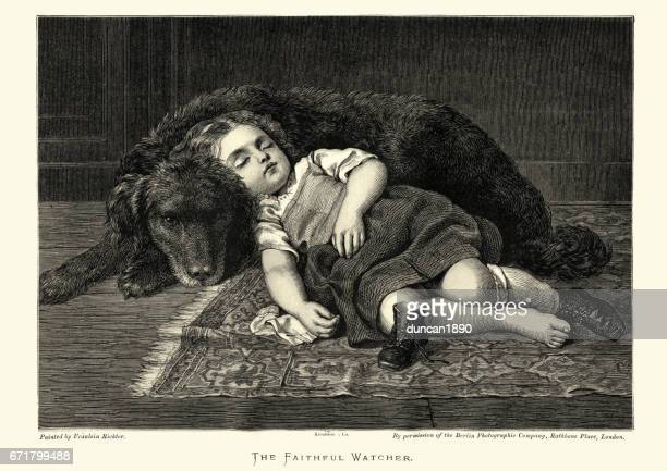 The Faithful Watcher, Pet dog guarding a sleeping girl
