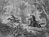 The Headless Horseman chases Ichabod Crane across a narrow bridge as illustrated in an April 1876 issue of Harper's New Monthly Magazine.   The Headless Horseman is a fictional character from the shor
