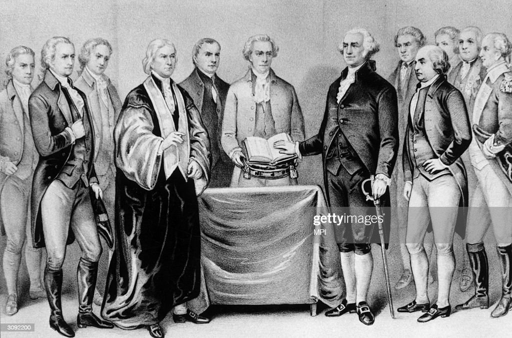 The inauguration of <a gi-track='captionPersonalityLinkClicked' href=/galleries/search?phrase=George+Washington&family=editorial&specificpeople=67214 ng-click='$event.stopPropagation()'>George Washington</a> as the first President of the United States, also present are (from left) <a gi-track='captionPersonalityLinkClicked' href=/galleries/search?phrase=Alexander+Hamilton+-+Politiker&family=editorial&specificpeople=95847 ng-click='$event.stopPropagation()'>Alexander Hamilton</a>, Robert R Livingston, Roger Sherman, Mr Otis, Vice President <a gi-track='captionPersonalityLinkClicked' href=/galleries/search?phrase=John+Adams+-+Pr%C3%A4sident+-+Jahrgang+1735&family=editorial&specificpeople=89431 ng-click='$event.stopPropagation()'>John Adams</a>, Baron Von Steuben and General Henry Knox. Original Artwork: Printed by Currier & Ives.