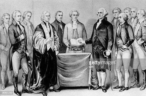 The inauguration of George Washington as the first President of the United States also present are Alexander Hamilton Robert R Livingston Roger...