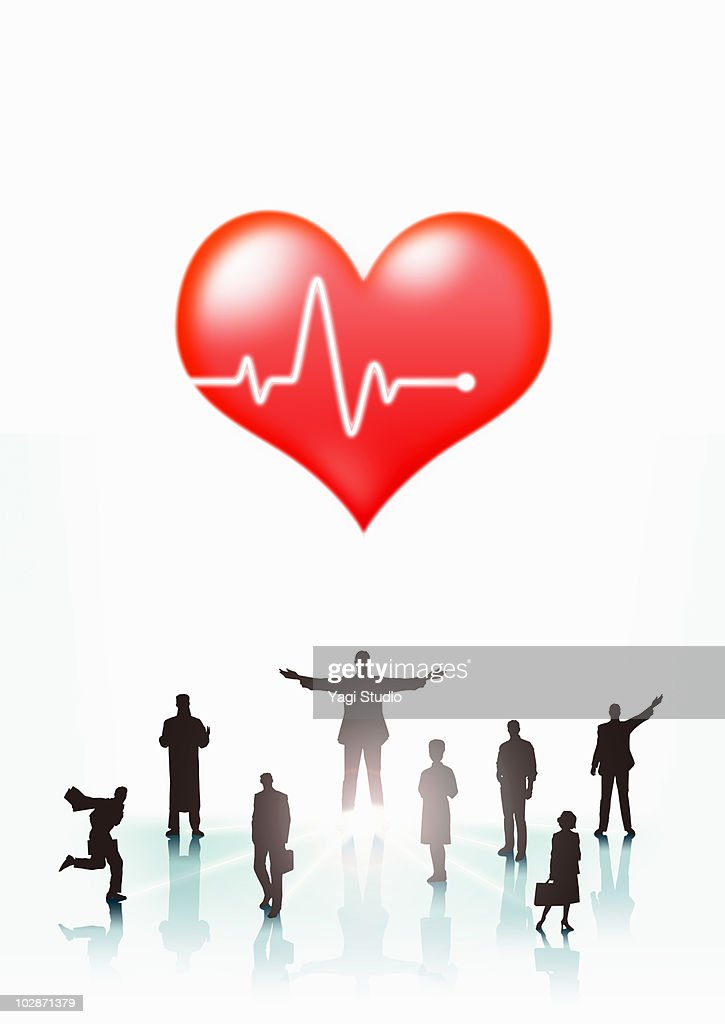 The people's silhouette and heart : Stock Illustration