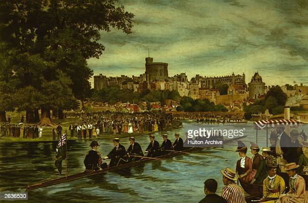 The 'Procession of the Boats' by the boys from Eton before the rowing competition gets underway Windsor Castle can be seen in the background This...
