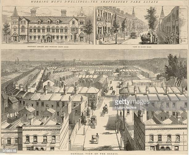 The Shaftesbury Park Estate in Lavender Hill Battersea south London showing the proposed library and working men's club and a view down Elsey Road It...