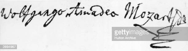 The signature of Austrian composer Wolfgang Amadeus Mozart