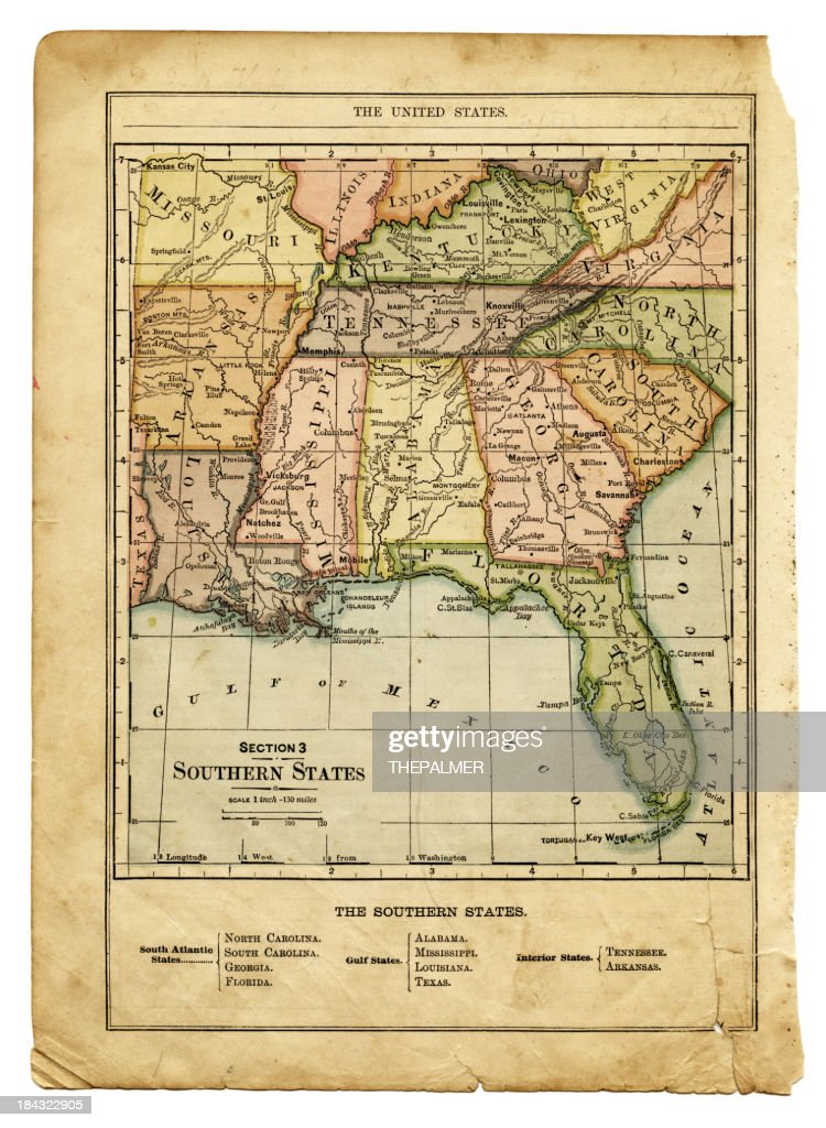 The Southern States Usa Map Stock Illustration Getty Images - Map of southern states of usa