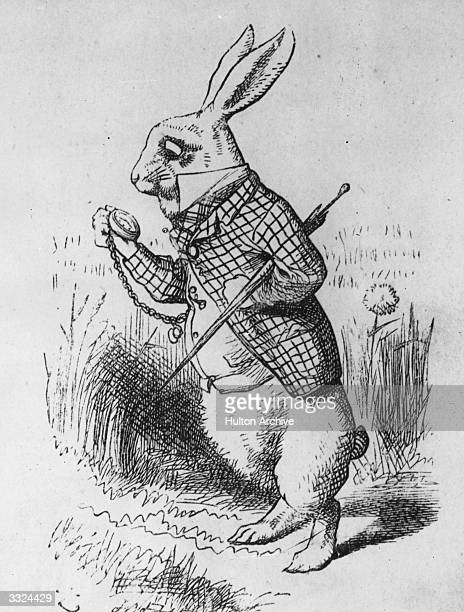 The White Rabbit studies his watch from Alice in Wonderland by Lewis Carroll Alice in Wonderland 1st edition pub 1865 Illustration by J Tenniel