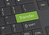 The word Transfer written on a green key from the keyboard