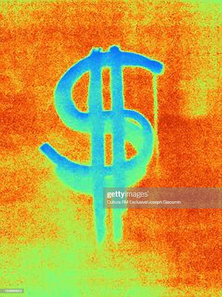 Thermal image of dollar sign : Stock Illustration