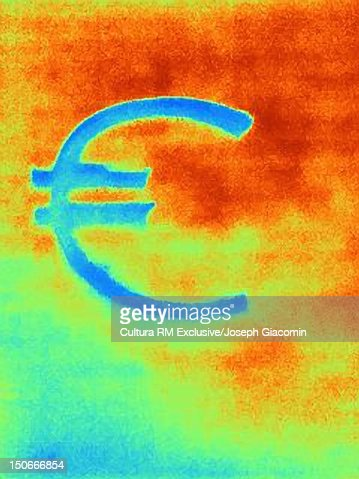 Thermal image of Euro symbol : ストックイラストレーション