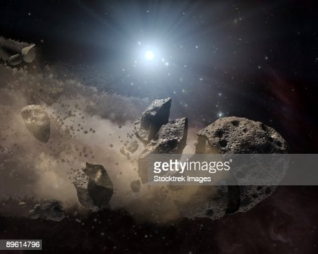 This artist's concept illustrates a dead star, or white dwarf, surrounded by the bits and pieces of a disintegrating asteroid. : Illustrazione stock