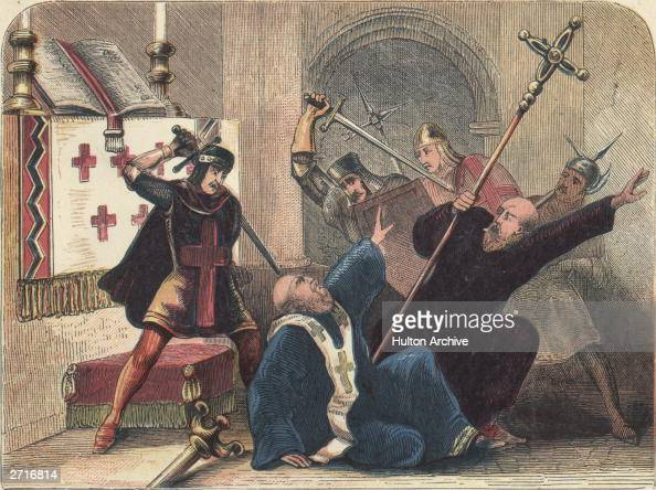 Thomas a Becket English saint martyr knight chancellor and archbishop of Canterbury is brutally murdered by four knights Hugh de Merville William de...