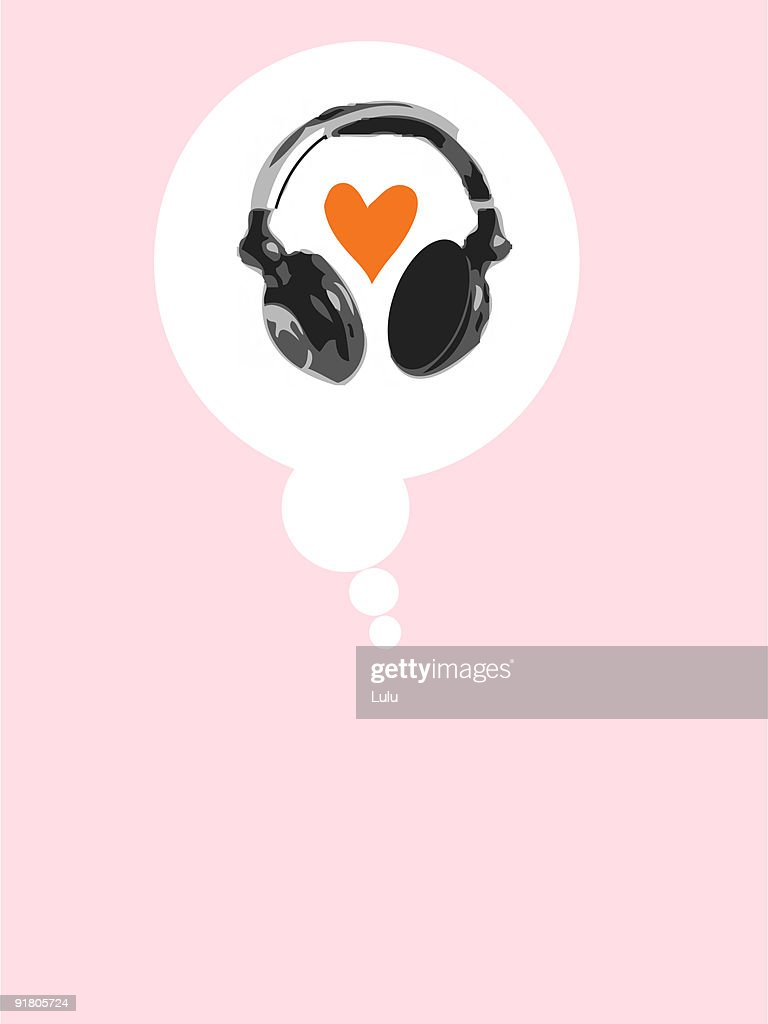 A thought bubble with a heart and headphones : Stock Illustration