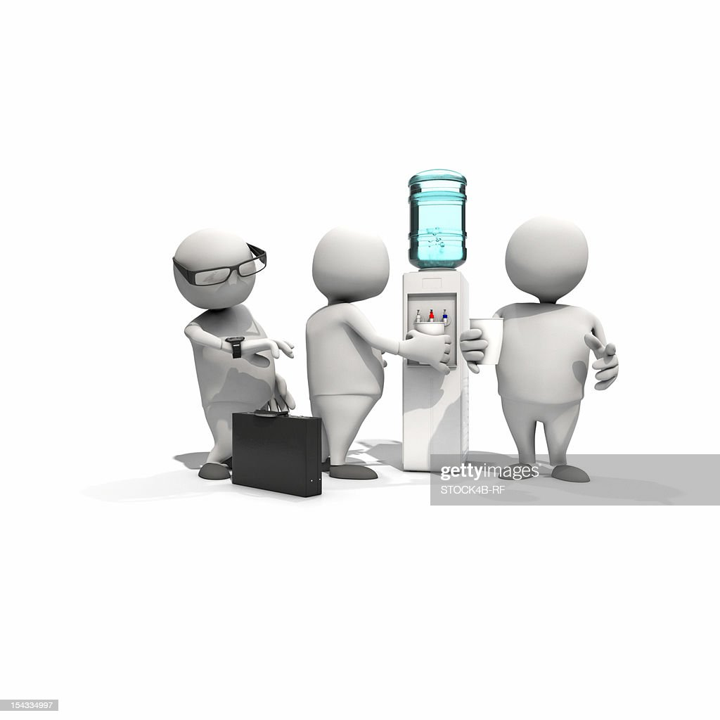 Three anthropomorphic figures standing around water dispenser, CGI : Stock Illustration