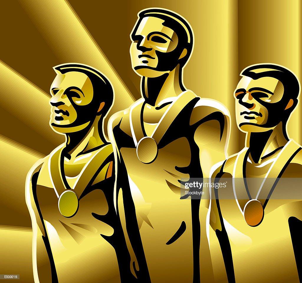 Three athletes on podium with medals around their necks, smiling : Stock Illustration